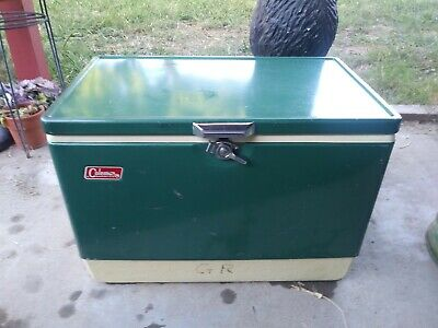 Vintage Coleman Metal Cooler Ice Chest Large Size Green Old Camping 22 1/2x16x13