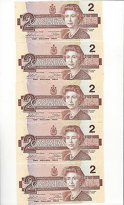 1986 Canada $2 Note, Thiessen/Crow SN #EGR 1985894-98 Cons.5 Notes  BC-55b-i