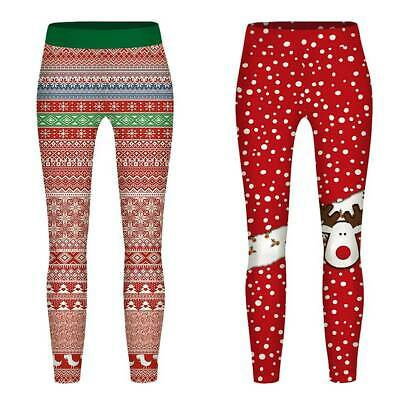 Children Kids Girls Christmas Print Tight Stretch Skinny Pants Sports Trousers