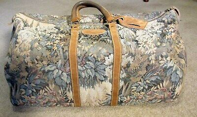 "Vintage FRENCH CO. ""Paradise"" Tapestry & Suede  Luggage Duffle/Travel  Bag"