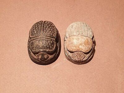 Scarce Antique Ancient Egyptian 2 Scarab Good Luck & Life Hiroglyphic1320BC