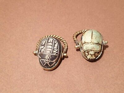 Scarce Antique 2Ancient Egyptian Bronze Rings Scarabs Good luck happy life1630BC