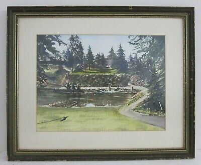 Marion Bledsoe Signed WA Golf & Country Club Watercolor Painting Framed 17x21