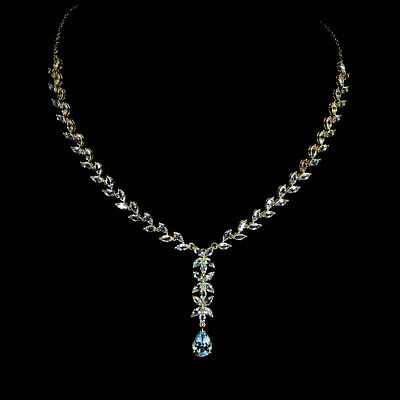 Pear Sky Blue Topaz 12x8mm 14K Gold Plate 925 Sterling Silver Necklace 22.5 Inch