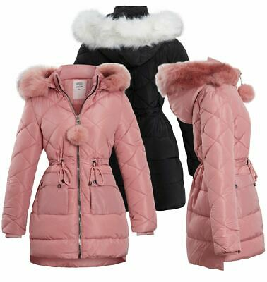 Girls Padded Parka Coat Ages 4 7 8 10 12 13 14 Years Jacket Faux Fur Black Pinl