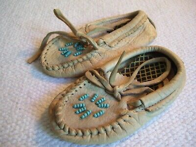 Vintage Pair Leather Beaded Moccasins for Child