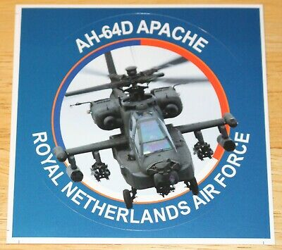 Old KLU Netherlands Air Force Boeing AH-64D Apache Helicopter Sticker