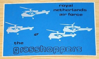 Old Netherlands Air Force Grasshoppers Alouette III Helicopter Display Sticker
