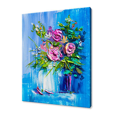 Beautiful Bouquet Of Roses Oil Painting Style Box Canvas Print Wall Art Picture