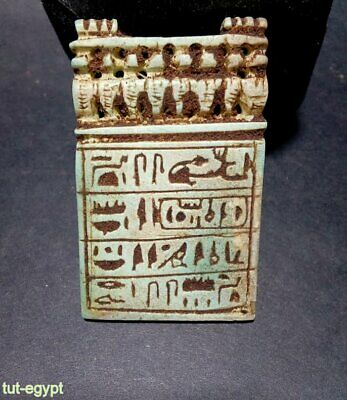 RARE Ancient Blue Faience Hieroglyphic Amulet Panel Pendant. 664-332BC