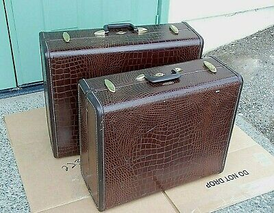 SAMSONITE Alligator Skin Luggage Travel Suitcases Style 4137 Brown 1950's 2 Lot