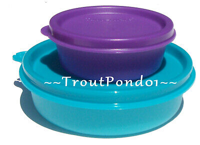 New TUPPERWARE Small Bowls Set 2 Blue Little Wonder Purple Half Mini Snack Cup