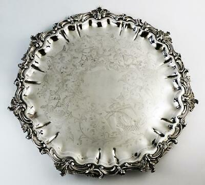 GEORGIAN OLD SHEFFIELD PLATE SALVER TRAY c1800 DOLPHINS CREST