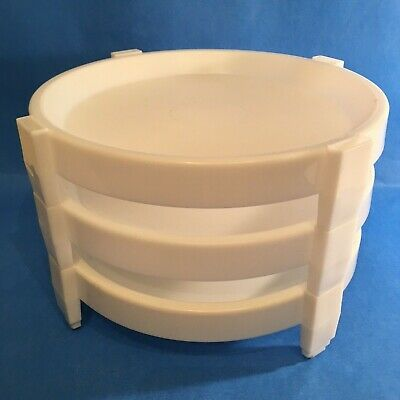 TUPPERWARE White Stacking Pie Trays/Holders DIVIDE A RACK Set of 3 Vintage
