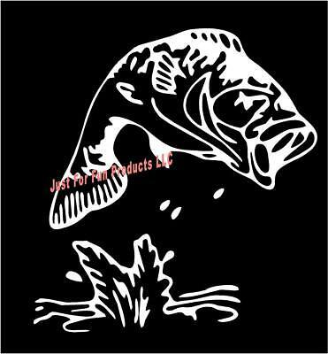 WHITE Vinyl Decal Bass jumping fish fishing hunt truck sticker