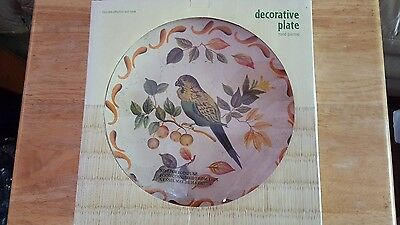 "Decorator ""Hand Painted"" Ceramic Display Plate W/Parakeet Brand New In The Box!!"