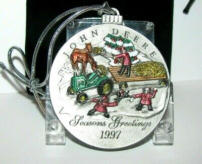 *John Deere L Tractor 1997 Hand Painted Pewter Christmas Ornament 2nd In Series