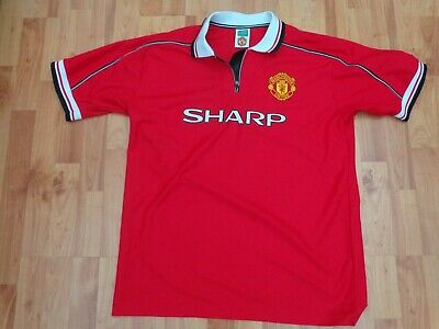 Classic Manchester United Fc 1998-2000 Xl Mens Home Umbro Football Shirt