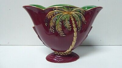 Beswick Pottery Art Deco Rouge Royale Lustre Ware Glaze Palm Tree Vase