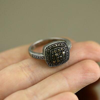 Vintage Cushion Shape Real Diamonds Design Ring 925 Sterling Silver Size 8 RG 26