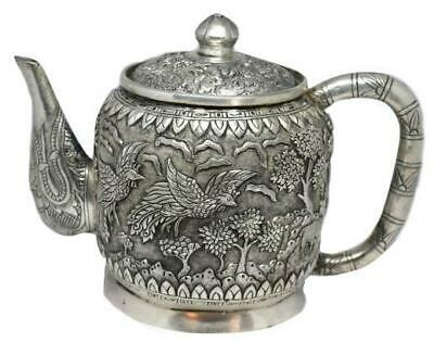 Antique Heavy Repousse Animal Scene Chinese Export Silver Teapot 900 Silver