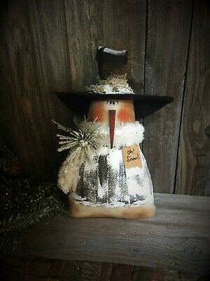 *Primitive 10x7in SNOWMAN white 8 Fabric HANDMADE Country old rusty doll*