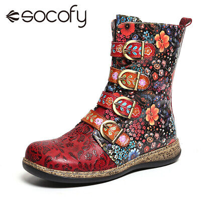 SOCOFY Women Retro Cow Leather Comfy Metal Buckle Zipper Flat Short Ankle Boots
