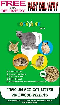 Cat Litter Wood Pellets Non Clumping Light Pine Scent Highly Absorbent 30 Litres