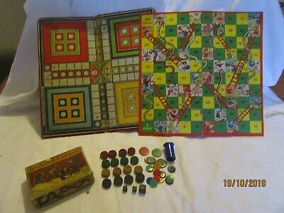 Wooden vintage Ludo Snakes & Ladders Counters Markers Boards dice shaker etc
