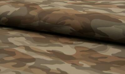 PU Leather Look Cloth Upholstery Fabric Material CAMOUFLAGE - TAUPE