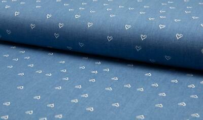 PRINTED Cotton Denim Stretch Fabric Material - HEARTS LT BLUE