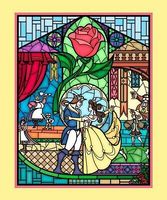 Beauty and the Beast Stained Glass Disney Fabric Quilt Top Panel Springs Cotton