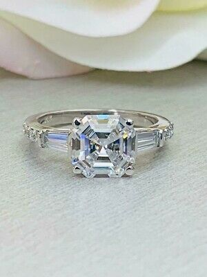 2.70CT Asscher Cut White Diamond 925 Silver Women's Three Stone Engagement Ring