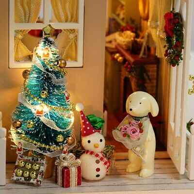 DIY Christmas Miniature Dollhouse Mini 3D Wooden House Craft LED Lights SP