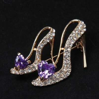 Crystal Rhinestone Broaches High Heeled Shoes Brooch Pin Party Accessories