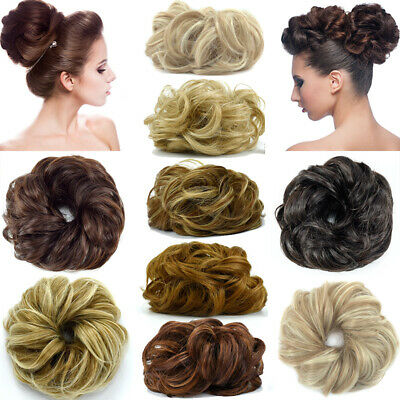 UK LARGE TOP Curly Messy Bun Hair Piece Scrunchie Thick Hair Updo Extension 9i9