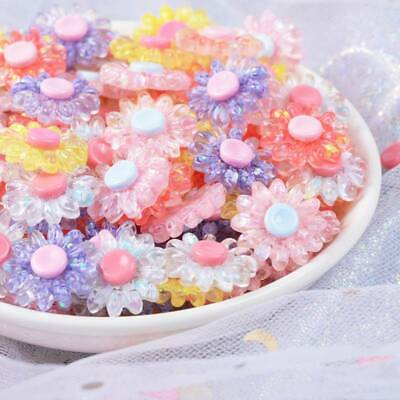 10pcs 18mm Resin Plastic Crystal Flower Button Embellishments Decorations DIY