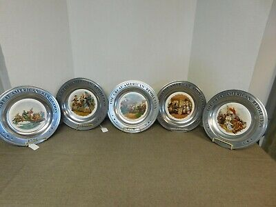 Set of 5 Great Amerian Revolution Scene Pewter Collector Plates