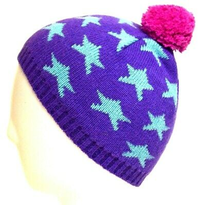 JOHN LEWIS Girls Knitted BOBBLE HAT Soft Warm Star Pattern PURPLE Pink | S/M M/L
