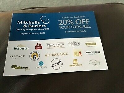 Mitchells and Butlers voucher 20% off your total bill