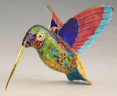 Precious Chinese Cloisonne Hummingbird Statue Pendant Hand-Carved Old Collection