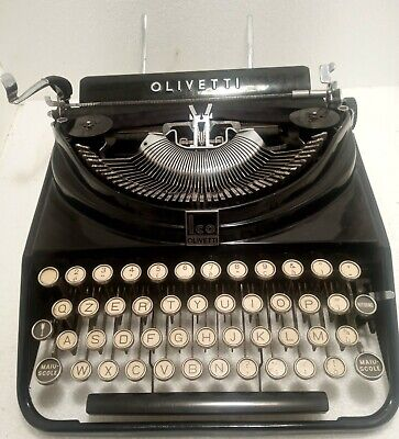 Olivetti typewriter ICO mp1 , black color , in working order , no box , 1930's