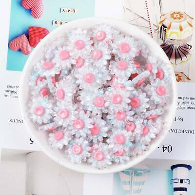 10pcs 18mm Resin Plastic Crystal Flower Button Embellishments Decorations White