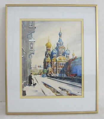 Man Walking Dog in Russian Winter Signed Orig Watercolor Painting Framed 13x16