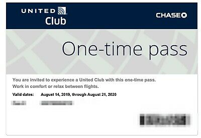 2 UNITED AIRLINES CLUB PASSES Expires Aug 2020 EMAIL DELIVERY