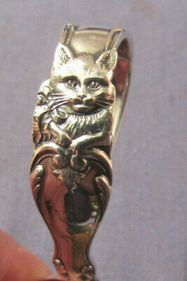 Antique 1894 Reed & Barton Sterling Silver Feeding Spoon With Cat Engraved John
