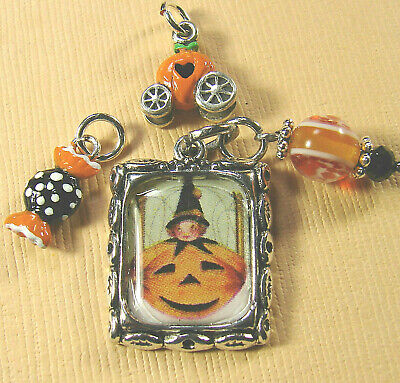STERLING Silver enamel MINI PUMPKIN Coach, Taffy candy, Pumpkin pic Charm Lot