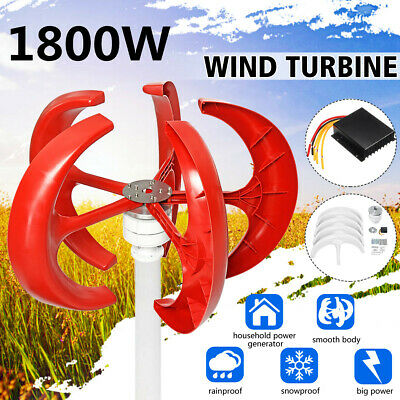 1800W 12V/24V Lanterns 5 Blades Wind Turbine Generators Vertical Axis+Controller
