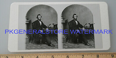 President Abraham Lincoln in chair hat on table stereoview