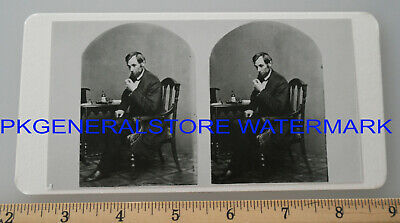President Abraham Lincoln in chair stereoview